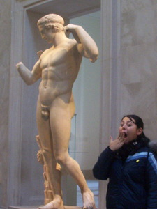Surprised Woman at Statue